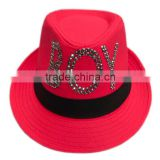 Girl's fedora hat with sequins logo and band for wholesale