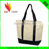2016 Hot Sales For Promotion Imprint Customized Logo Shopping Canvas Tote Bag Leather Handle