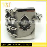 Jingli Jewelry factory Gothic Skull Hand Claw Poker Playing Card Rings, Ace of Spades Skull Rings (HS-081)