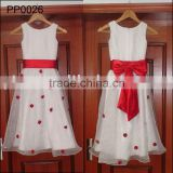 PP0026 Real Sample Hot Selling Flower girl dresses white and red children wedding dress for kids