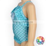 Summer Kids Swimwear Fish Scale Pattern Design Ruffle Sleeveless Wholesale Baby Girls Swimsuit