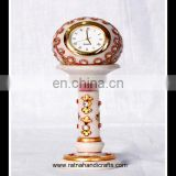 Marble Handicrafts Clock with stand having Golden Work