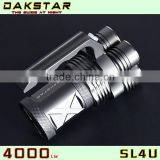 DAKSTAR New Arrival SL4U XML2 U2 4000LM 18650 High Power Aluminum Rechargeable Most Powerful led Flashlight Torch With CREE