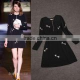 2014 New arrival causl black embroidery long sleeve fashion slim fancy dress with zipper designer C17162