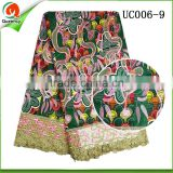 100% Cotton African Wax hollandais Prints Fabric With embroidery fabrics guipure lace 2016 new design