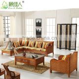 Wholesale Antique Royal Elegant Conservotary Indoor Wicker Bamboo Cane Rattan Wood Living Room Furniture Sectional Sofa Set
