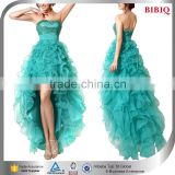 pretty woman cocktail dress sequined blue puffy organza quinceanera dresses short front long back halter high low prom dresses