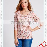 2014 HOT SALE European Style Design Digit Print Flower Women Three Quarter Sleeve cotton backless tops