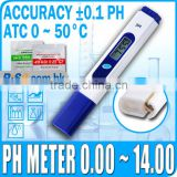 Digital Pen Type pH Tester 2 Buffer Hydroponic Aquarium ATC 0.00-14.00 pH Meter