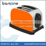 Orange/Yellow Color 2-Slice Wide Slot Polished and Brushed Logo Stainless Steel Toaster 850W