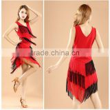 New Arrivals Performance Tassel Ballroom Dancing Salsa Fringe Dance Dresses Samba Costumes Red Latin Dance Dress