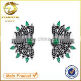 hot sell women black cubic zirconia stud earrings brass micro pave earrings                                                                                                         Supplier's Choice