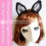 Hot Sale New Design Black Lace Cat Ears Party Headband