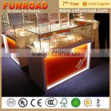 glass display showcase for bakery elegant style plywood baking paint cheap cosmetics display showcases LED light for sale