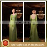 LBB2 Elegant V Neckline Lace Appliqued Wedding Party Maid of Honor Gown Long Sleeve A Line Long Mint Green Bridesmaid Dresses