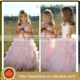LBFG19 High Qulity Sleeveless Light Pink Flower Girl Dress with Hand Made Tiered Ruffle Dresses for Girls of 7 Years Old