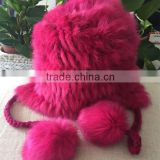 Classic Style Two Hanging Fur Pompom Knit Rabbit Fur Hat Fashionable Fur Balls Knit Hat