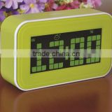 2015 new hot sale item big lcd display blue backlight digital clock with calendar temperature desktop & talking clock snooze