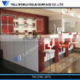 modern design kitchen cabinet Polished Artificial marble l shape bar counter