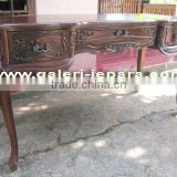 Solid Mahogany Writing Desk - Antique Style Office Furniture - Antique Reproduction Furniture with Handles