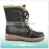 2015 Women's Ladies Black First Grain Leather Winter Boots