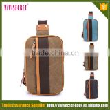 Vivisecret fashion custom chest bag canvas brown one strap backpack