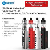 Top Box Mini Kit 75W With Toptank And Kbox Mini TC Mod 75W Kanger Topbox Mini Kit