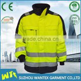 high quality reflective safety used uniform cotton working uniform fluo yellow heavy cotton jackets