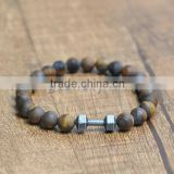 Natural Stone Tiger Eye Stone Beads Dumbbell Bracelet Strand Elastic Rope Adjustable Size Men Women Jewelry