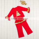 Lovely Childrens Boutique holiday clothing girls wear kid outfit autumn clothing sets for children on christmas