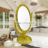Plastic double sides heart-shaped 2x magniying cosmetic mirror high quality free standing desktop mirror