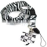 Black Zebra Lanyards, ID card holder, Key Neck Strap Lanyard, Phone Neck Strap