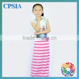 Latest design zig zag striped long skirt autumn kids wholesale chevron maxi dress