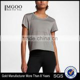 MGOO New Arrival Short Sleeve Dry Fit Plain T-shirts Mesh Fabric Simple Style Women Gym Tank Top