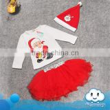 Wholesale baby stocks christmas decorating baby dress set with hat kids christmas gift set clothes