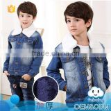 Wholesale baby clothes warm comfortable boys wool fur thickening denim winter jackets and coats
