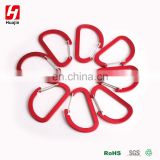 Shiny Red Aluminum Alloy D Shape Carabiner, Key Chain Clip Hook