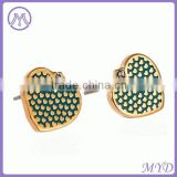 Copper/brass Heart Shaped Enamel Stud Earrings For Ladies