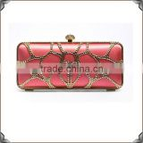 Pink Box Shape Crystal Studded Ladies Evening Bags crystal clutch