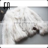 Factory direct wholesale white raccoon fur knitted jacket /white raccoon fur knit jacket