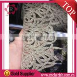 2016 new fashion coming yellow fancy Italy lace pine leaf shape flower fabric crocheted lace fabric for Garment Dress