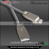 MFi certified cable nylon complex braided zinc alloy 8pin USB cable for Apple with MFi approval for iPhone7/7plus