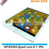 KOMAY 9.7 inch Ainol AX9 with MTK8382 1.3GHz Quad Core 3G Phone Call function Android 4.2.2 Tablet PC, WCDMA & GSM Support OTG