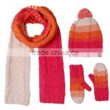 newest design bright color fashion ladies knit hat scarf set