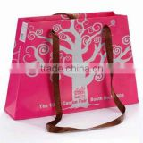 Pink color luxury paper shopping bag brand shopping bags boutique shopping bags with long handle --PB-28