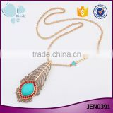 New gold chain design jewellery arrow charm feather pendant necklace                                                                                                         Supplier's Choice