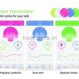 household mini wearable baby smart bluetooth thermometer with mobile app 24 hours monitoring