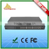 24 Port Gigabit Ethernet POE Switch with 24x10/100/1000M PoE Ports and 2 Gigabit SFP Uplink Fiber optic switch