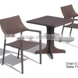 chair and table for restaurant in brown flat wicker color without cushion