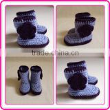 beautiful baby girl shoes with crochet flower new design warm fashion soft crochet boots